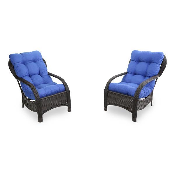 2 Cadeiras de Fibra com Almofadas Azul