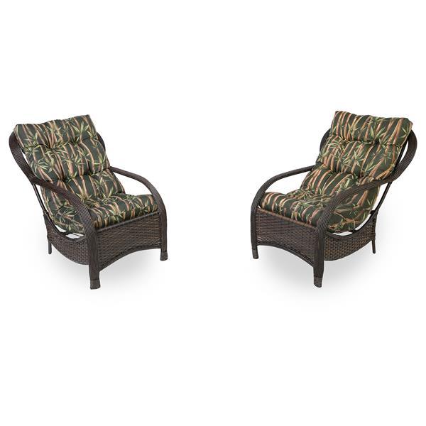 2 Cadeiras de Fibra com Almofadas Bambu Escuro