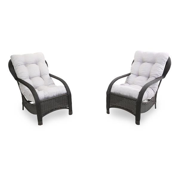 2 Cadeiras de Fibra com Almofadas Cinza