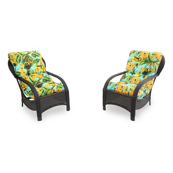 2 Cadeiras de Fibra com Almofadas Flor Amarela