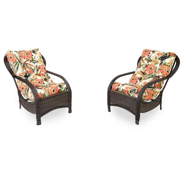 2 Cadeiras de Fibra com Almofadas Flores Laranja