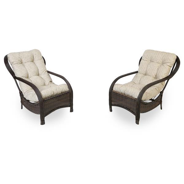 2 Cadeiras de Fibra com Almofadas Impermeáveis Bege