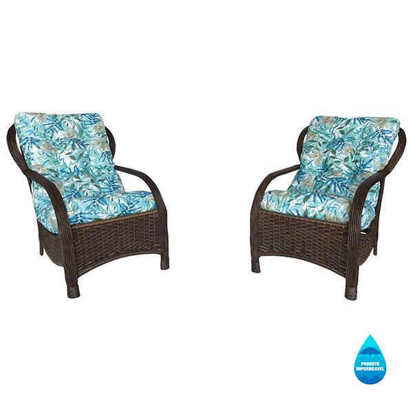 2 Cadeiras de Fibra com Almofadas Impermeáveis Tiffany