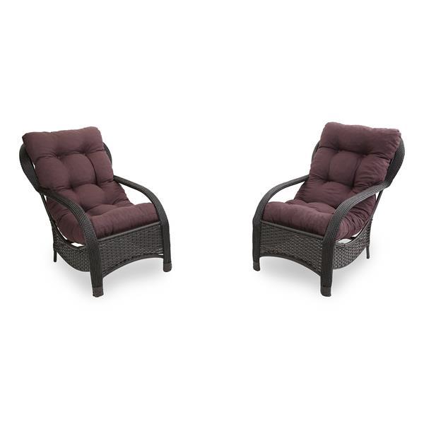 2 Cadeiras de Fibra com Almofadas Marrom