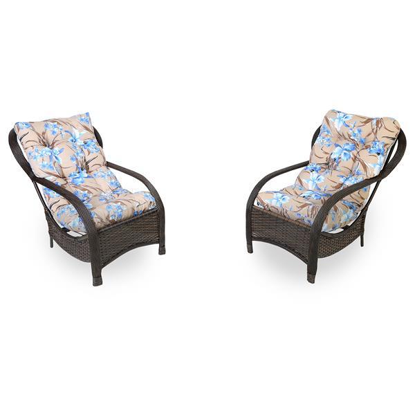 2 Cadeiras de Fibra com Almofadas Orquídea Azul