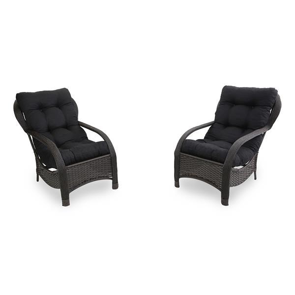 2 Cadeiras de Fibra com Almofadas Preta