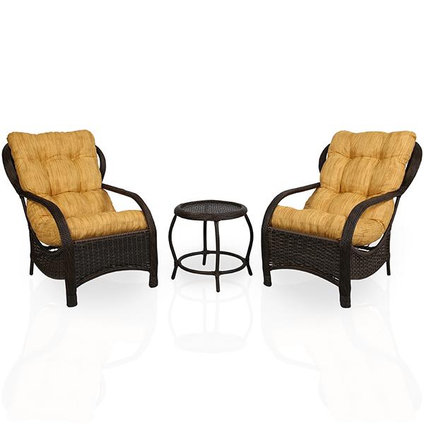 2 Cadeiras de Fibra Com Mesa e Almofadas Amarelo Mesclado