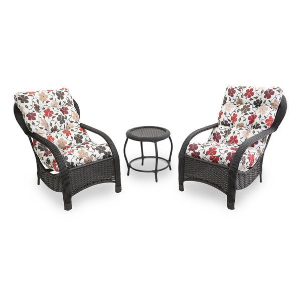 2 Cadeiras de Fibra Com Mesa e Almofadas Flores Hibiscos