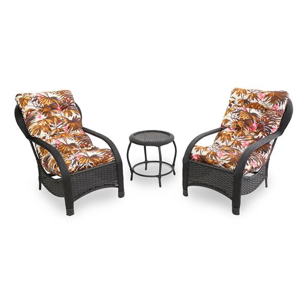 2 Cadeiras de Fibra Com Mesa e Almofadas Folhagem Outono