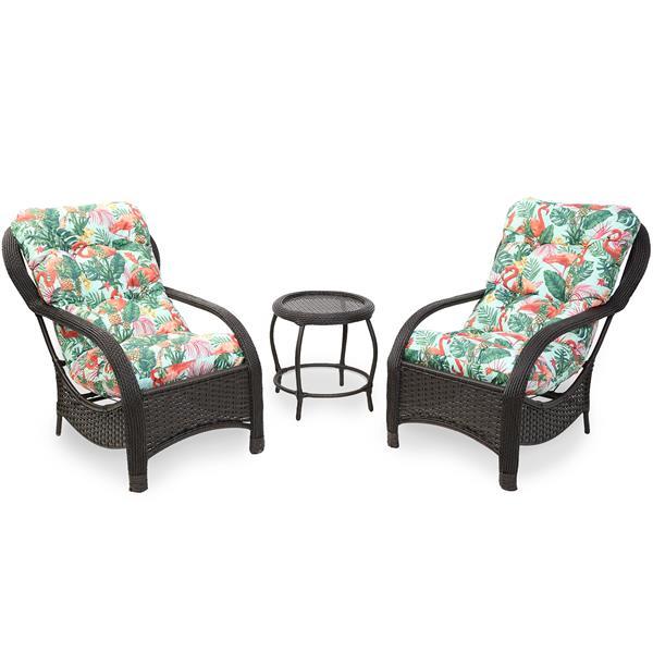 2 Cadeiras de Fibra Com Mesa e Almofadas Impermeáveis Aruba