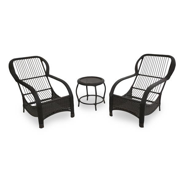2 Cadeiras de Fibra Com Mesa e Almofadas Impermeáveis Folha