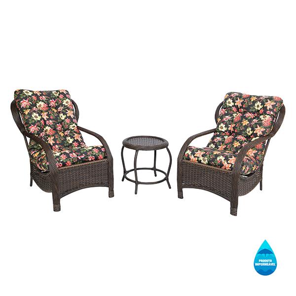 2 Cadeiras de Fibra Com Mesa e Almofadas Impermeáveis Havana