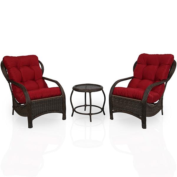 2 Cadeiras de Fibra Com Mesa e Almofadas Marsala