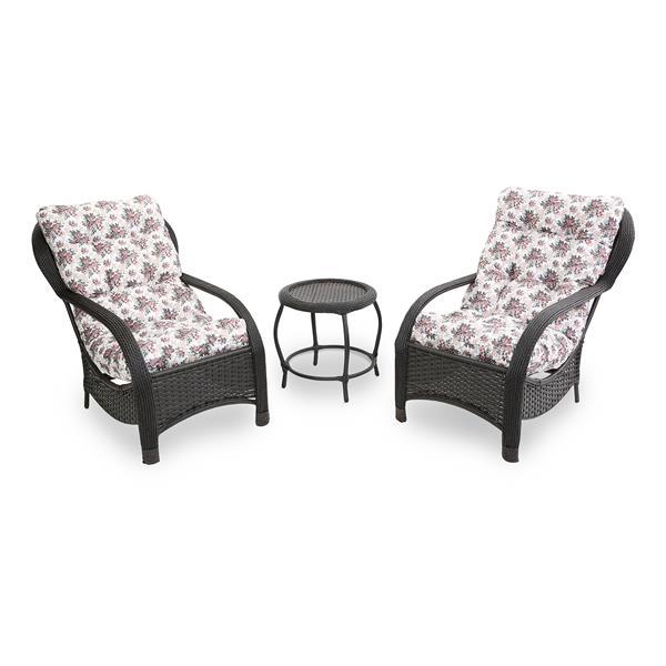 2 Cadeiras de Fibra Com Mesa e Almofadas Mini Rosa