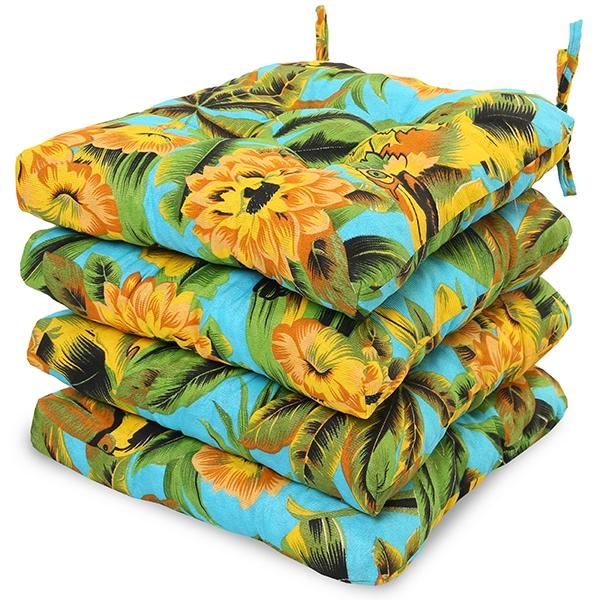 4 Almofadas para Assento de Cadeiras Flor Amarela e Laranja
