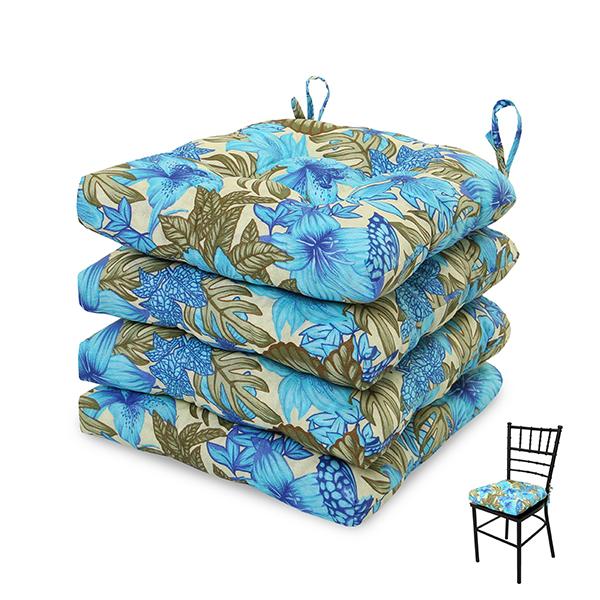 4 Almofadas para Assento de Cadeiras Flor Azul