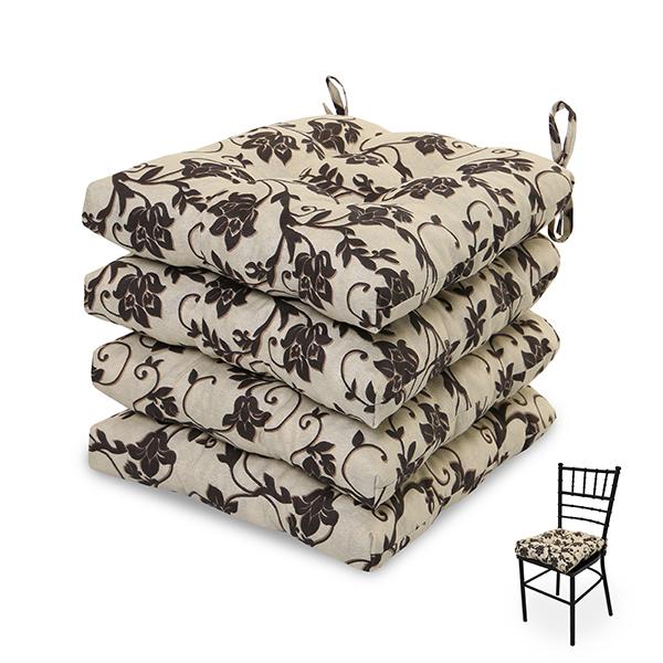 4 Almofadas para Assento de Cadeiras Flor Marrom