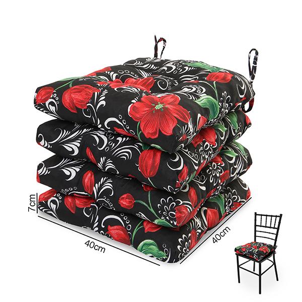 4 Almofadas para Assento de Cadeiras Lírio Vermelho