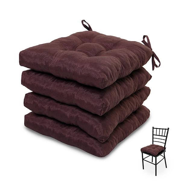 4 Almofadas para Assento de Cadeiras Marrom
