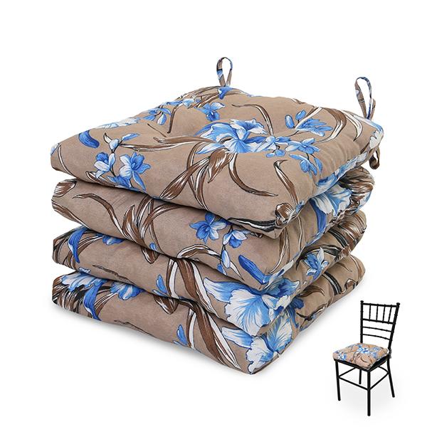 4 Almofadas para Assento de Cadeiras Orquídea Azul