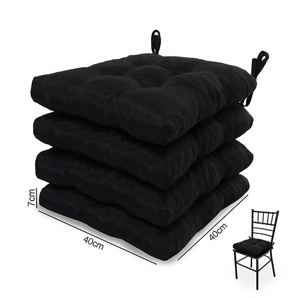4 Almofadas para Assento de Cadeiras Preta