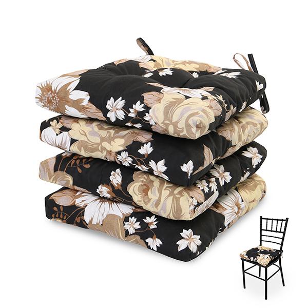 4 Almofadas para Assento de Cadeiras Zenaide Preta