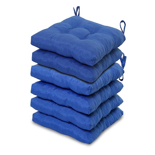 6 Almofadas para Assento de Cadeiras Azul
