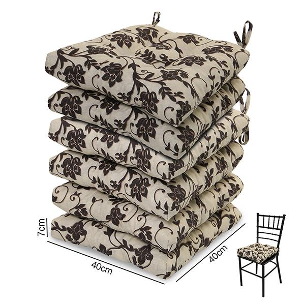 6 Almofadas para Assento de Cadeiras Flor Marrom
