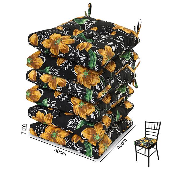 6 Almofadas para Assento de Cadeiras Lírio Amarelo