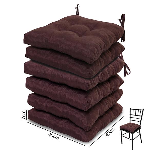6 Almofadas para Assento de Cadeiras Marrom