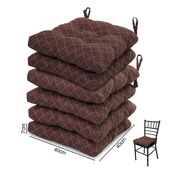 6 Almofadas para Assento de Cadeiras Marrom Riscado