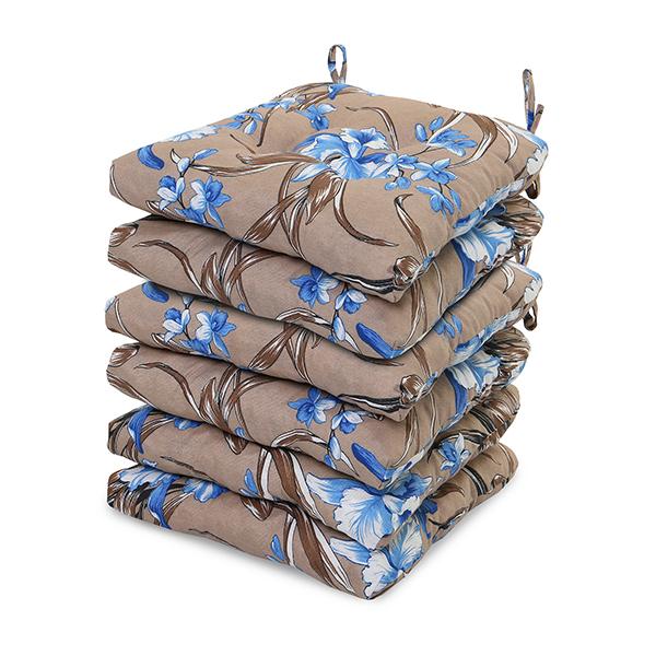 6 Almofadas para Assento de Cadeiras Orquídea Azul