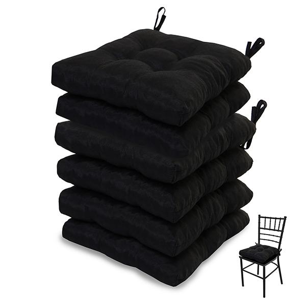 6 Almofadas para Assento de Cadeiras Preta