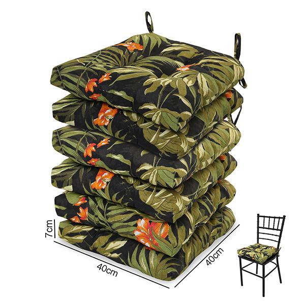 6 Almofadas para Assento de Cadeiras Tropical