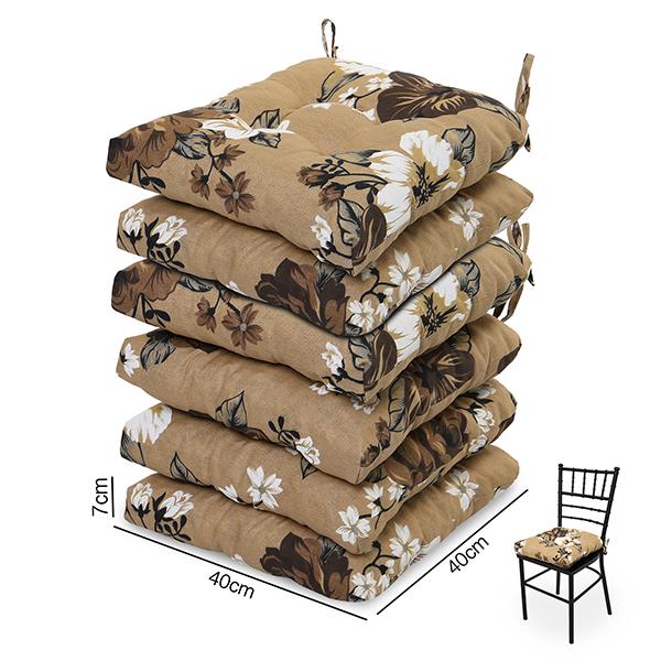 6 Almofadas para Assento de Cadeiras Zenaide Marrom