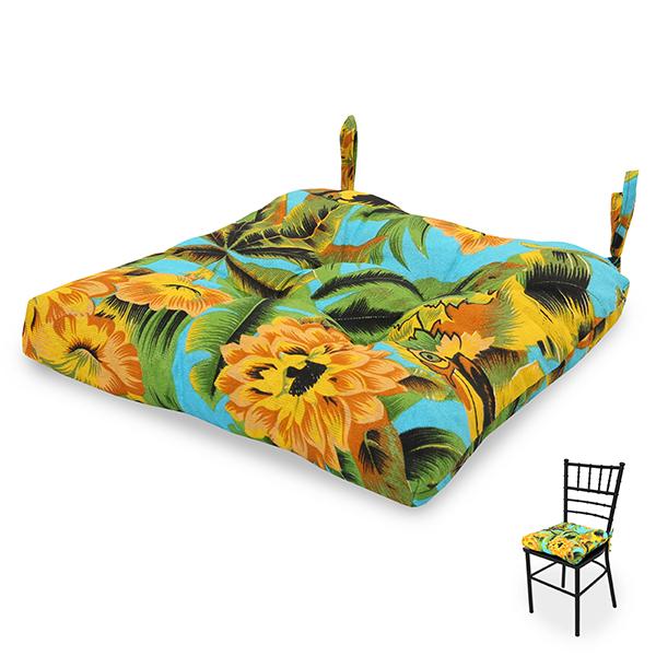 Almofada para Assento de Cadeira Flor Amarela e Laranja