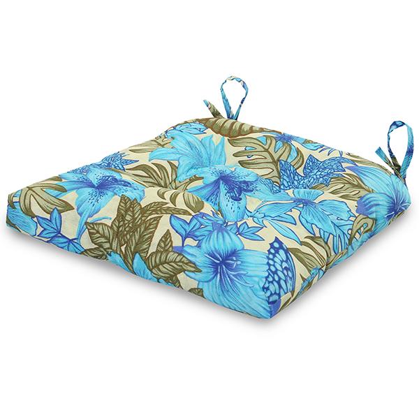 Almofada para Assento de Cadeira Flor Azul