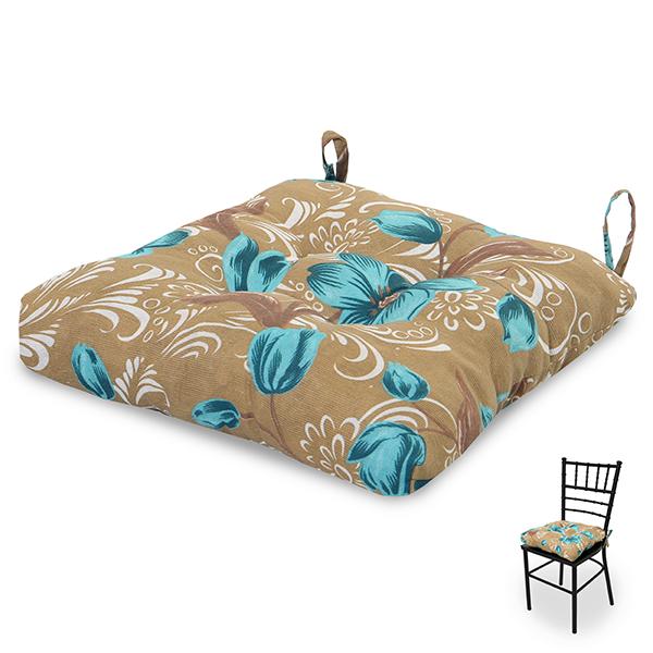 Almofada para Assento de Cadeira Lírio Azul