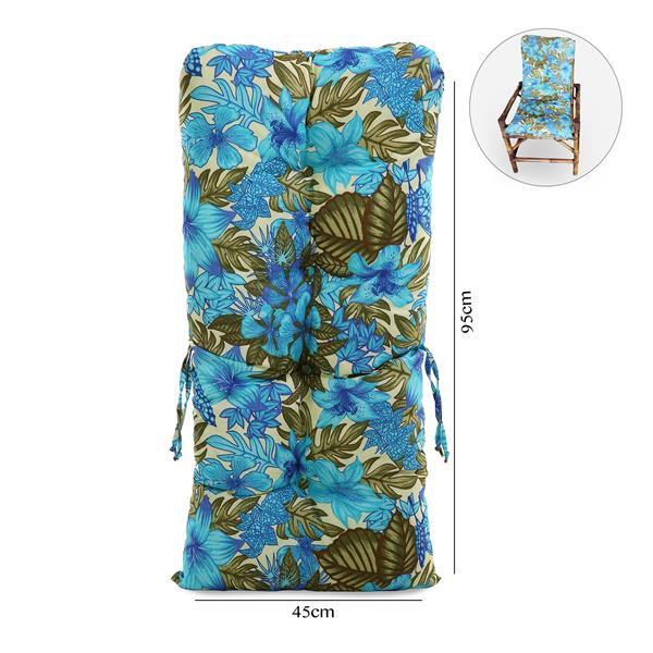 Almofada Para Cadeiras de Bambu e Vime Flor Azul