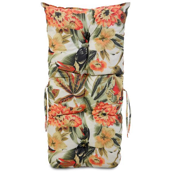 Almofada Para Cadeiras de Bambu e Vime Flores Laranja