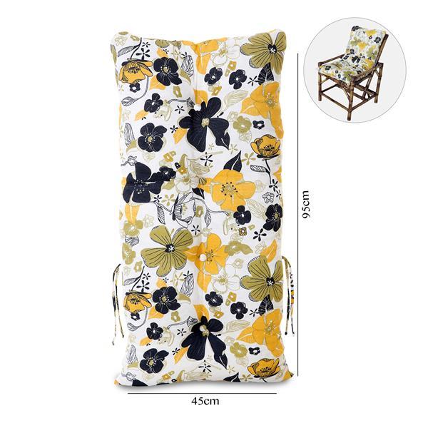 Almofada Para Cadeiras de Bambu e Vime Flores Preta