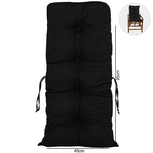 Almofada Para Cadeiras de Bambu e Vime Preta