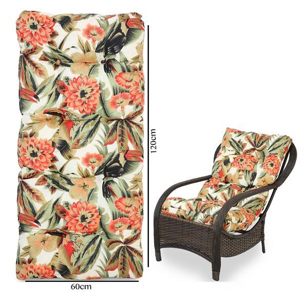 Almofada Para Cadeiras de Fibra Flores Laranja