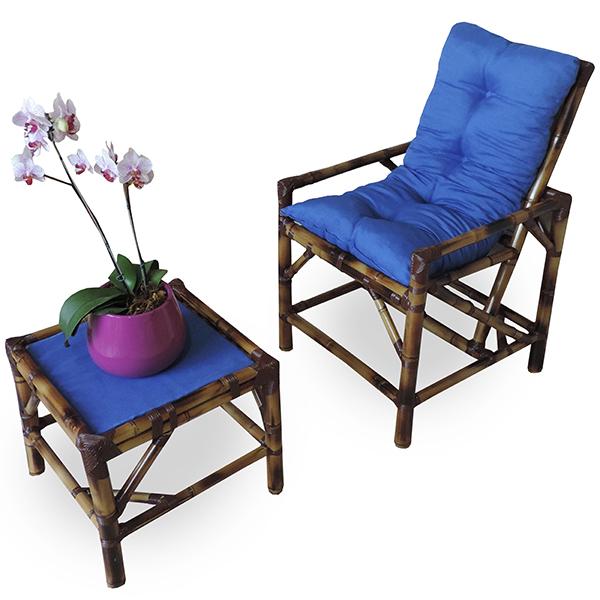 Cadeira de Bambu 1 Lugar com Almofada Azul