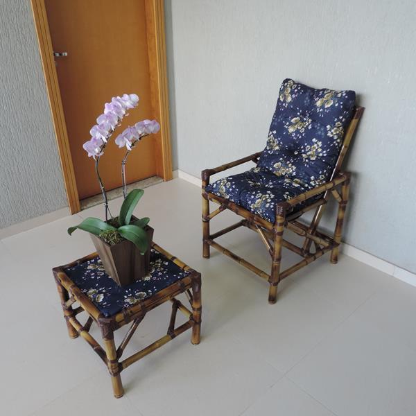 Cadeira de Bambu 1 Lugar com Almofada Azul Florida