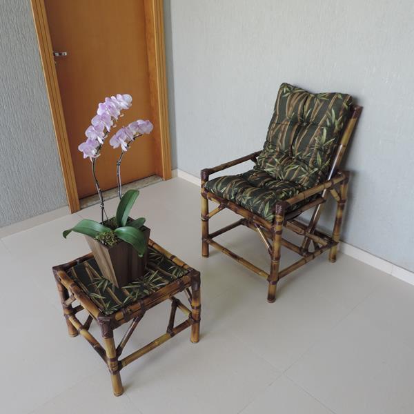 Cadeira de Bambu 1 Lugar com Almofada Bambu Escuro
