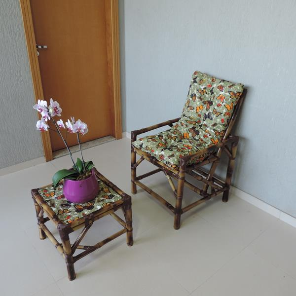 Cadeira de Bambu 1 Lugar com Almofada Borboletas