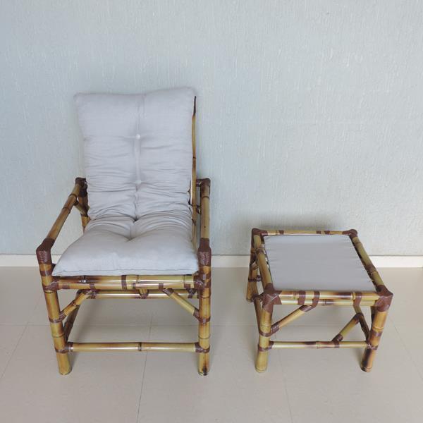 Cadeira de Bambu 1 Lugar com Almofada Cinza