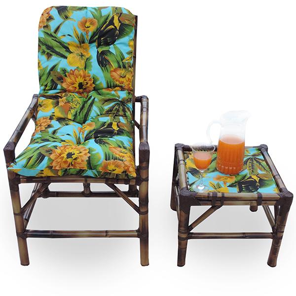 Cadeira de Bambu 1 Lugar com Almofada Flor Amarela
