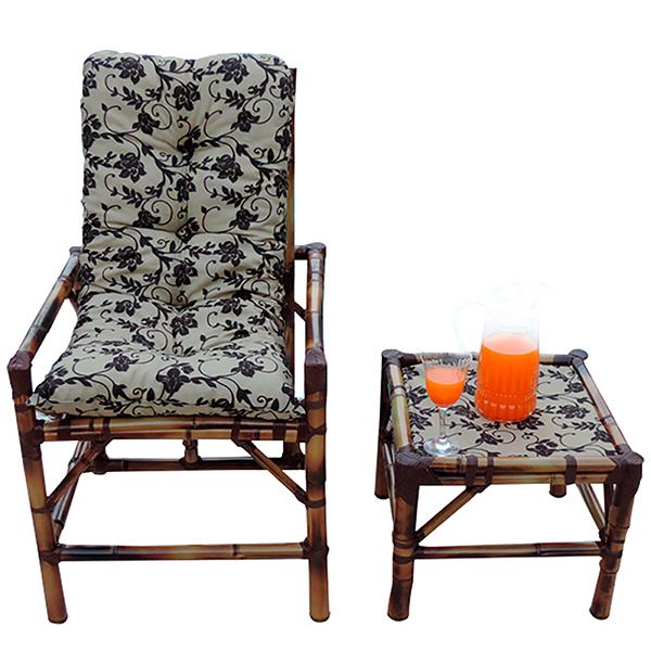 Cadeira de Bambu 1 Lugar com Almofada Flor Marrom